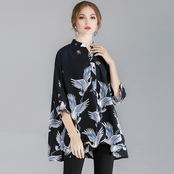 Women Blouses Summer 2020 Streetwear Long Sleeve Casual Shirt Print Crane Blouse Shirt Elegant Tops Plus Size Blusas Femininas матрас матрас орматек season evs 9 zone fresh line 80x200 season evs 9 zone