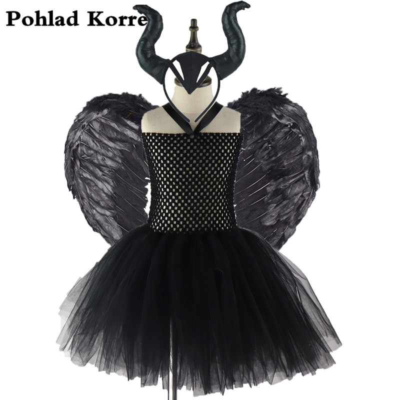 3 Pcs Maleficent Evil Queen Girls Tutu Dress With Horns Feather Halloween Witch Costume For Girls Kids Party Dress Clothing XX0