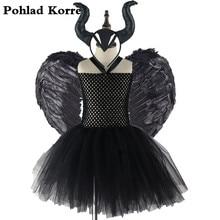 3 stücke Maleficent Bösen Königin Mädchen Tutu Kleid mit Hörner Feder Halloween Hexe Kostüm für Mädchen Kinder Party Kleid Kleidung XX0