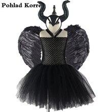 3 sztuk Maleficent zła królowa dziewczyny Tutu sukienka z rogami pióro Halloween strój czarownicy dla dziewczynek dzieci Party Dress odzież XX0