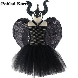 Image 1 - Комплект из 3 предметов, платье пачка с рожками и перьями для девочек, костюм ведьмы на Хэллоуин, вечерние платья для девочек, XX0