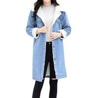 Winter Jacket Women Blue Jean Jacket Thicken Warm Fleece Denim Long Coat Punk Long Outwear 2019 Jaqueta Feminina Casaco