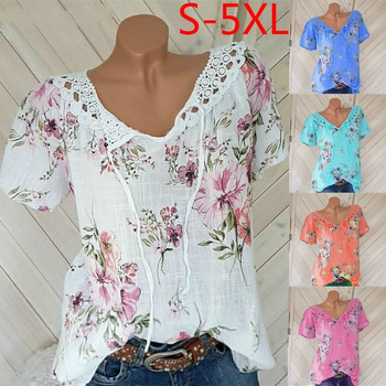 Plus Size Women Blouse V Neck Floral Print Causal Shirts Summer Short Sleeve Lace Crochet Boho Beach Women Tops Blusas Feminina plus lace panel floral blouse