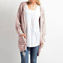 2019 autumn and winter new large size long section solid color pocket sweater ladies twist knit cardigan