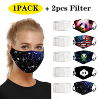 Adult Outdoor Cotton Print Dust-proof Smog Mask Thicken Mouth Mask Mouth Cover Washable Outdoor Reusable Mouth Mask+2 Filters#25