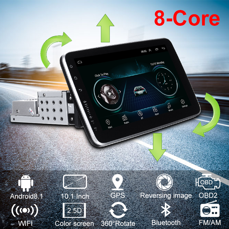 10.1 Inch Android 8.1 Car GPS Navigation WIFI 1+16G Color Screen Car Stereo Radio Multimedia Video Player 360 Degree Rotation