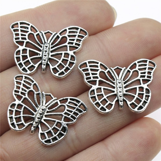 4 pieces Antique silver butterfly charms pendant 61x79mm Free Ship H-4952