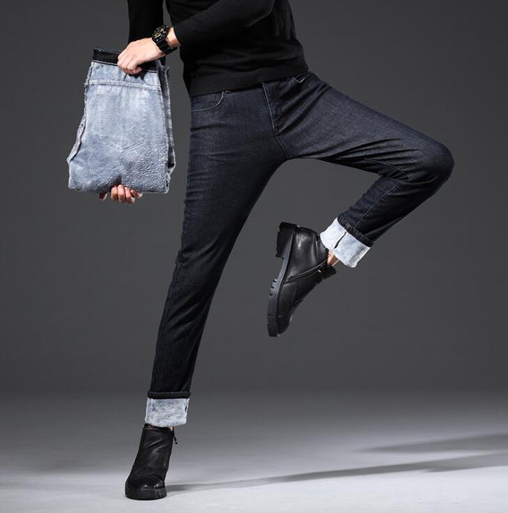 Neue Design Dicke Samt Warme Jeans Casual Für Männer Rabatt Winter Männlichen Lange Hosen Freies Verschiffen