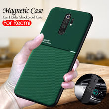 Textura de couro matte caso para xiaomi redmi nota 8 pro magnético carro titular do telefone capa xiomi redmi nota 8t 8a 7a 7 5 k30 coque
