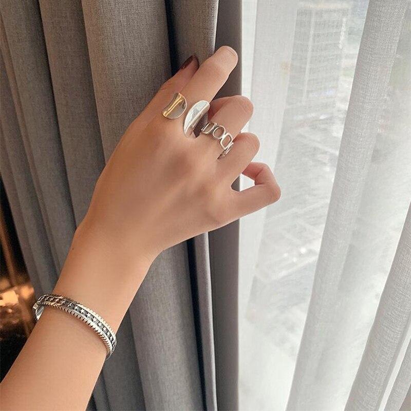 XIYANIKE 925 en argent Sterling brillant creux géométrique anneau rétro Unique conception de mode à la main bijoux Index doigt ouvert anneau 6
