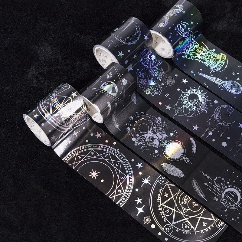 Vintage Magic Laser Silver Decorative Washi Tape Adhesive Tape Diy Scrapbooking Sticker Label Masking Tape