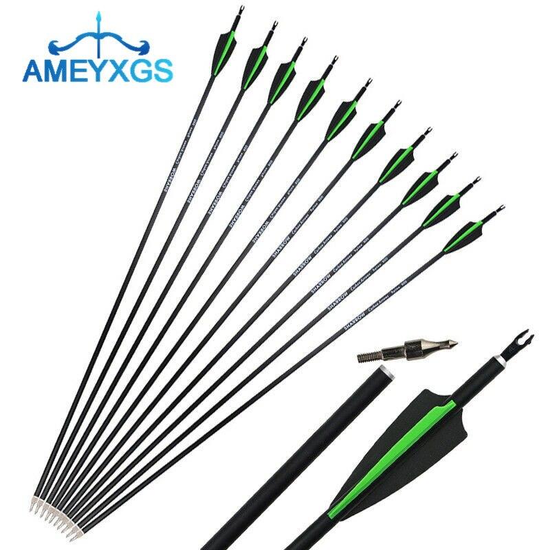 "US 12PCS 30/"" Archery Fiberglas SP500 Arrows Foe Compound bow Sports Hunting"