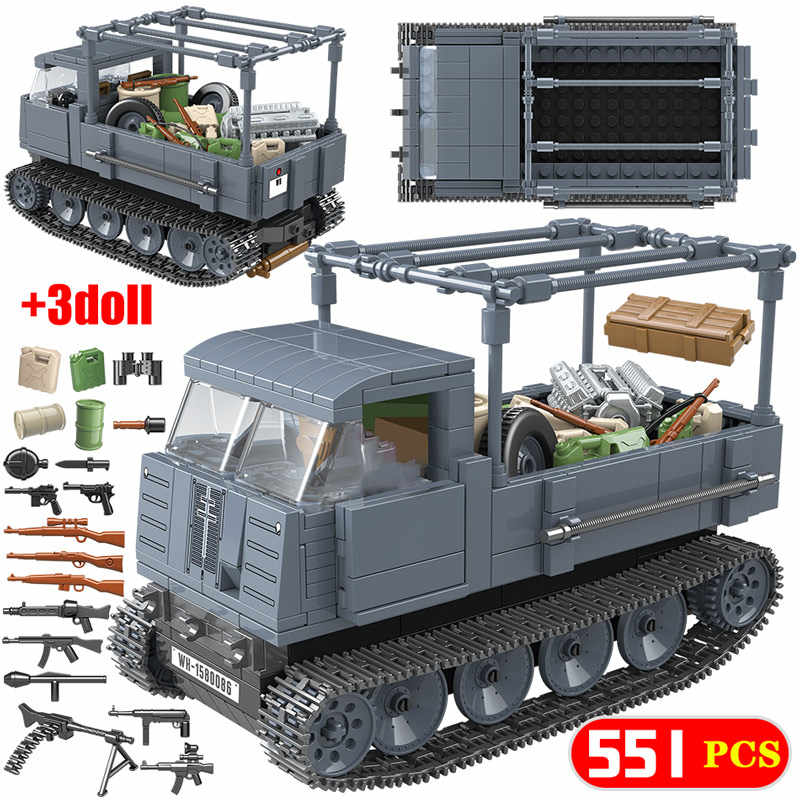 551PCS Building Blocks legoingly WW2 Military German RS0/03 Half Track Tractor Tank  Soldier Figures Bricks Sets Toys for Boys