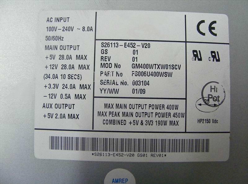 For NMB-MAT S26113-E452-V20 Server Power Supply 450W PSU Simens Primergy TX200S2