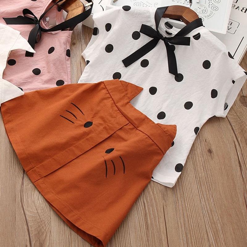Girls Set Baby Summer Clothes Summer New Short-Sleeved Leopard Pattern Top + Leopard Cake Skirt Toddler Girl Sets