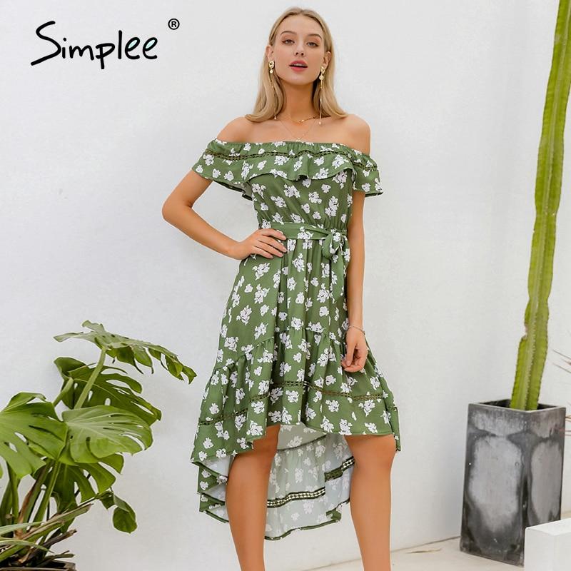 Simplee Off Shoulder Women Holiday Beach Dress Sashes Floral Print Female Midi Dresses Spring Summer High Waist Ladies Dresses