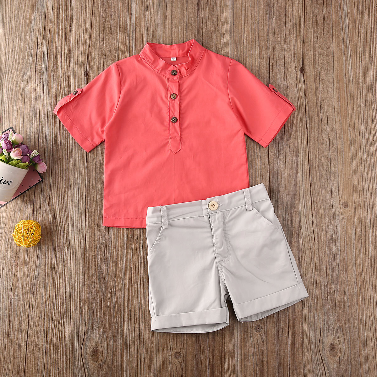 Emmababy Toddler Baby Boy Clothes Solid Color Short Sleeve Shirt Tops Short Pants 2Pcs Outfits Gentleman Formal Clothes