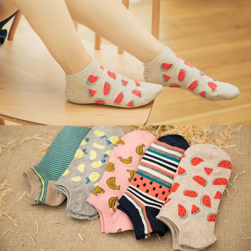 Fruit Boat Socks Ladies Harajuku Printed Casual Women Socks Cotton Breathable Comfortable Female Ankle Socks PD0160