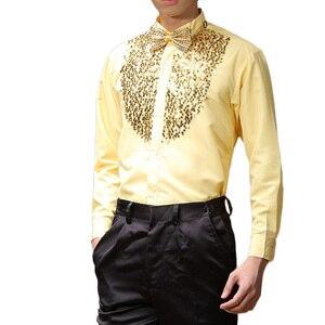 Image 3 - Men Latin Dance Dress Latin Dress Dance Dresses Latin Dance Costumes Cotton Blend Sequin Shirt Modern Tango Rumba Dance Wear