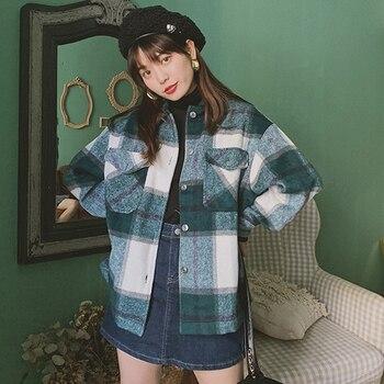 Hiver Vintage femmes Blouse chemise à carreaux surdimensionné poches chemise vêtements d'extérieur pour femmes Ropa Mujer femmes hauts et chemisiers