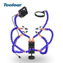 Toolour Soldering Helping Hand Third Hand USB Flashlight Fan Magnifying Glass Flexible Arms Soldering Holder For Welding Repair
