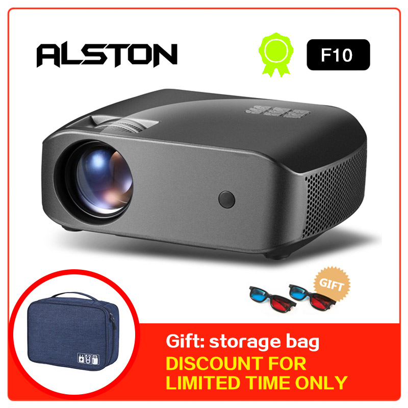 MINI Projector Beamer Support Cinema. Video ALSTON Lumens 1080p Home 1280x720p 3D F10