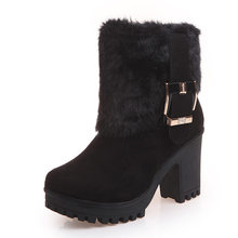 Black Suede Zipper Platform Wedge Heel Buckle Strap Snow Boots Winter Warm Boots Non-Slip Mom Boots Work Plush Cotton Boots(China)