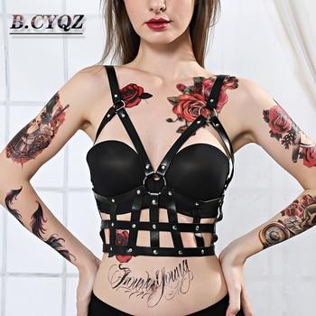 PU Leather Harness Body Strap Breast Cage Bondage Restraint Pastel Goth Erotic Porno Hot Sexy Lingerie Punk Harajuku Gothic Rave
