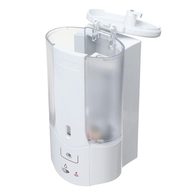 500mL Liquid Soap Dispenser Handfree Automatic Sensor Soap Dispenser Plastic Bathroom Shampoo Dispensers With Cover Wall Mounted