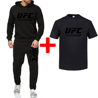 2019 men's printed UFC autumn and winter sports suit casual sweater + sports pants + T shirt 3 sets of brand fitness men's suit