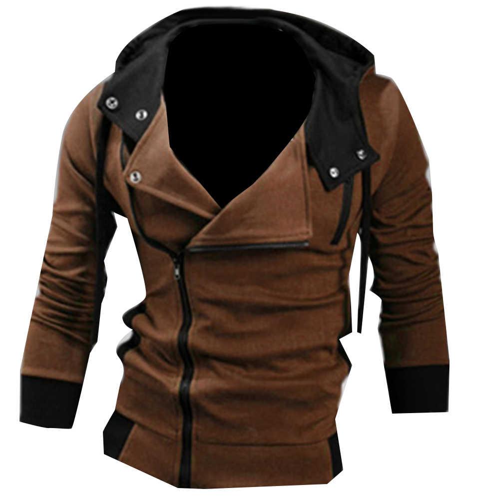 男性のスポーツウェアは、ファッショナブルなサイドジッパー巾着長袖スウェットシャツフード付きジャケットコートスポーツコート