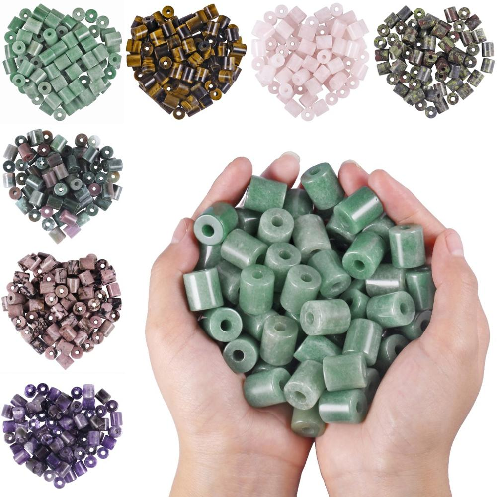 TUMBEELLUWA 1Lot 20Pc Large Hole 5mm Stones Cylinder Shape Charm European Loose Beads Fit Bracelet Jewelry Makings in Beads from Jewelry Accessories