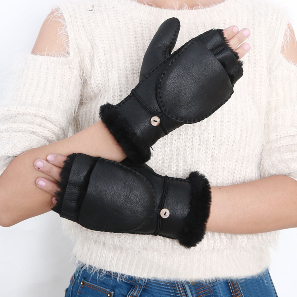 Mitten Outdoor Women Gloves PU Leather Warm Retro Style Fashion Ski Half Finger Durable Adult Hand Protection With Cover Winter