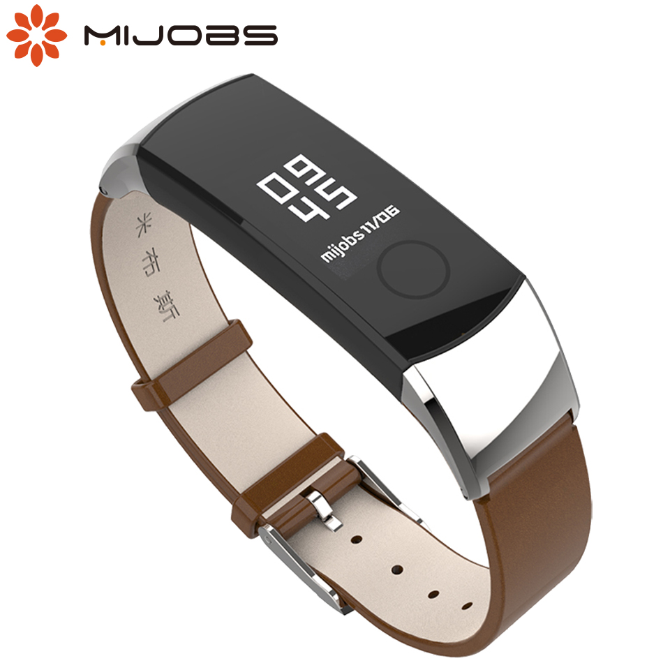 Mijobs Leather Strap For Huawei Honor 4 5 Smart Watch Wrist Band Strap For Honor Band 4 5 Smart Wristbands Replacement Bracelet