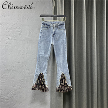 2021 New Spring and Summer Clothing Chiffon Printed Stitching Bottom Pants Women Stretch Slim Denim Trousers Female Denim Pants