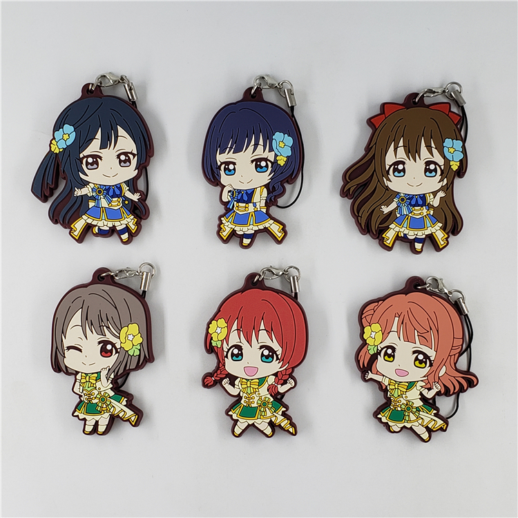 Love Live Anime Keychain PDP Lovelive! Perfect Dream Project Rubber Keychain
