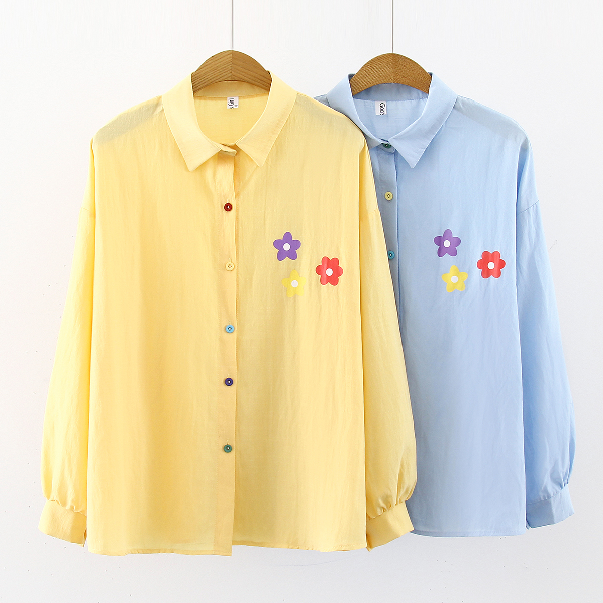 New Korean Colour Button Blouse Fashion Printed Long-sleeved Autumn Loose Women Bottoming Tops