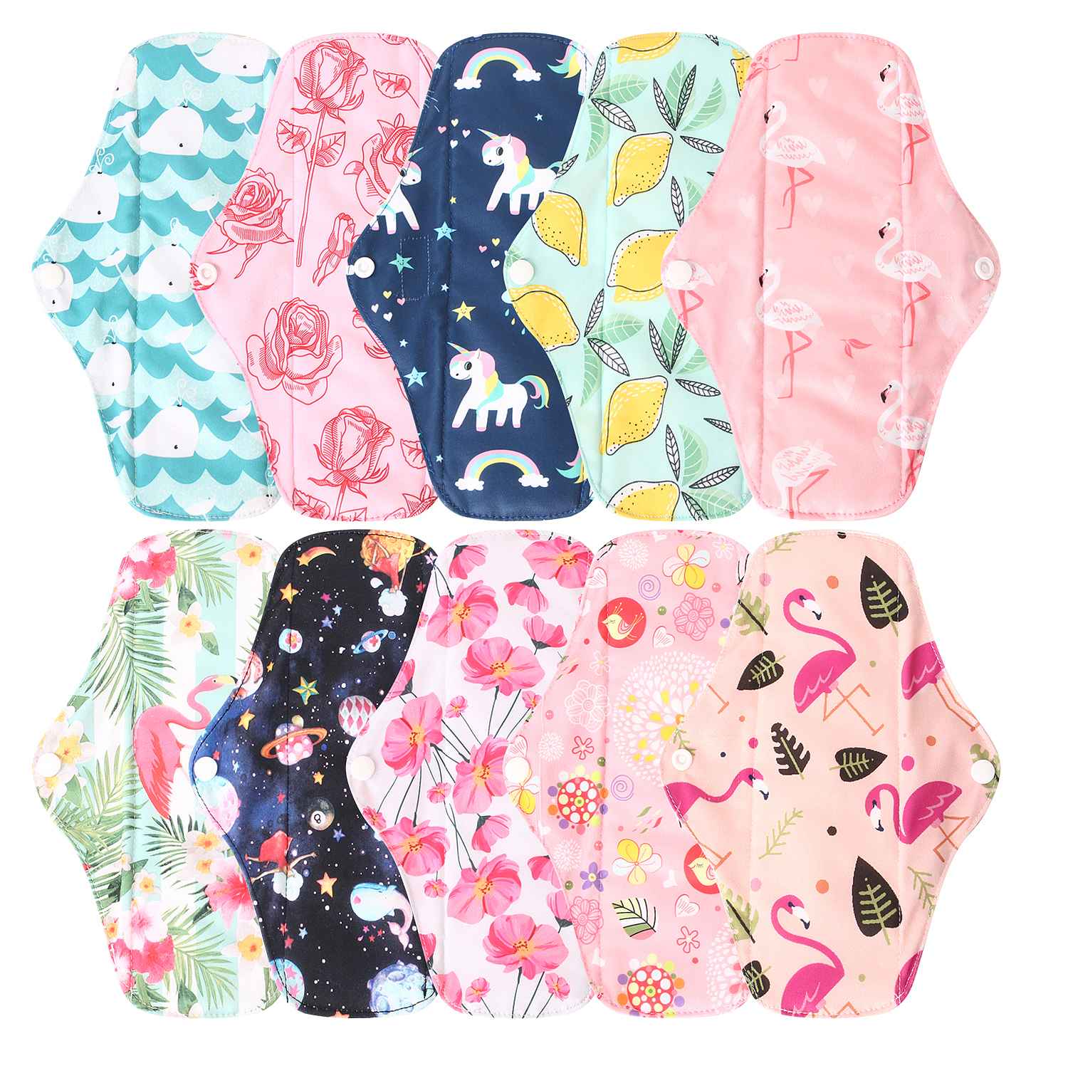 10PCS Organic Bamboo Washable Hygiene Menstrual Pads Heavy Flow Sanitary Pads Lady Cloth Pad Unicorn Print Reusable Pads Size M