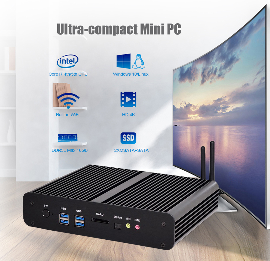 Eglobal Core I7 Gaming Pc Optical Dual Lan 4K HD DDR3L Computer Support USB SD Card Reader Portable Pc