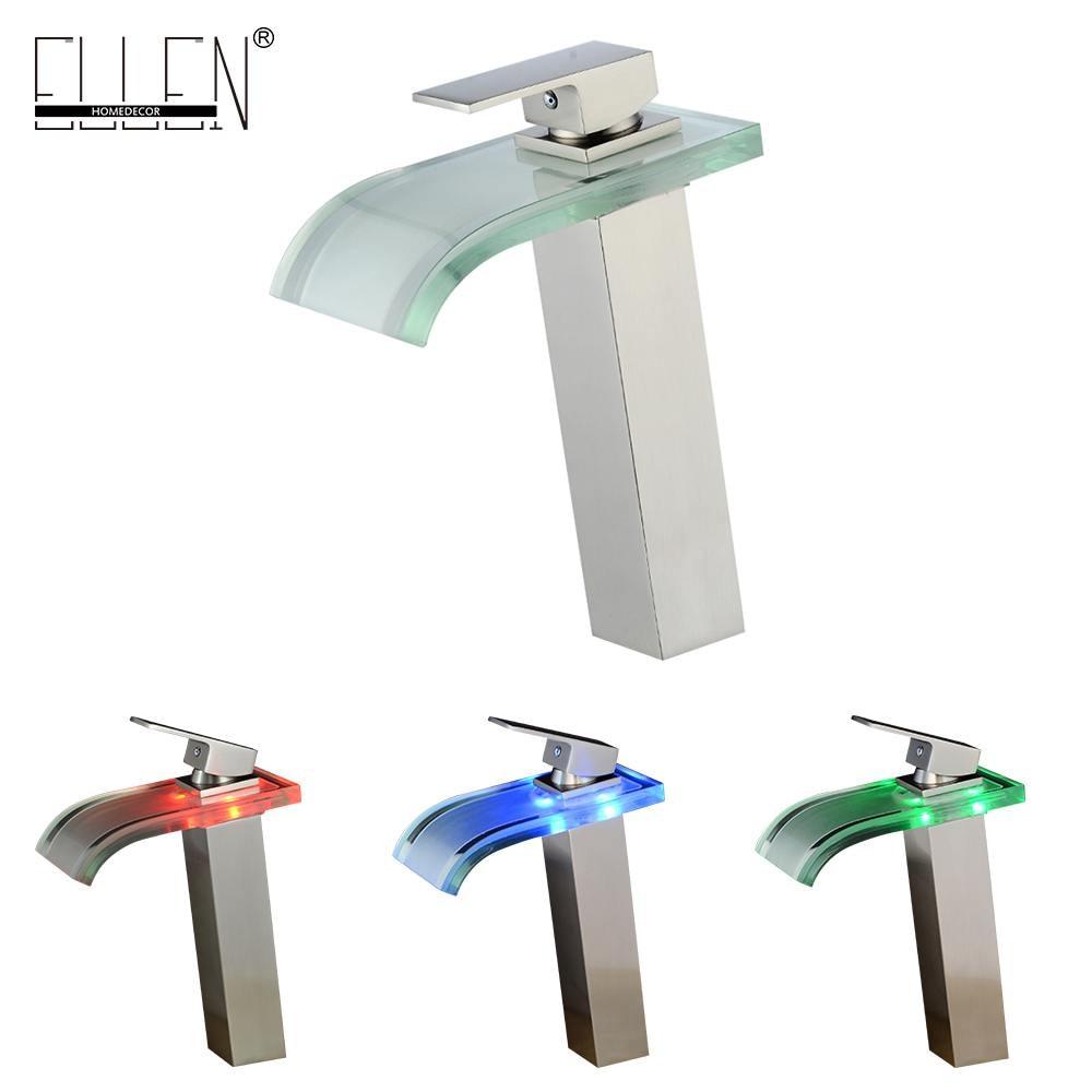 Vidric robinet haut brosse Nickel bassin salle de bain cascade LED robinets verre cascade laiton salle de bain mitigeur pont monté ELS40