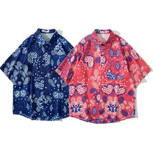 Men Shirt Short Sleeve Blue Red 2021 New Summer Loose Pocket Love Flowers Male Shirt Thin Comfortable Chinese Style S65