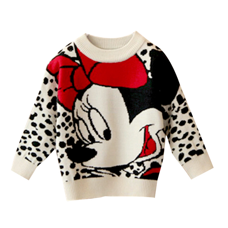 Cartoon Mickey Children's Clothing Plush inside winter boy girl kid thick Knitted high collar pullover fluff kids Sweaters 1