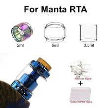 Replacement Pyrex Bubble Glass Tube Tank Coils Cotton For Manta RTA Tank Atomizer 3.5ml / 5ml Capacity Glass Tank Coil