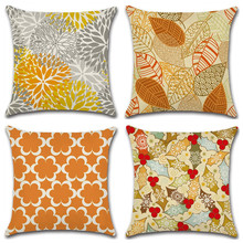 цены Coussin Decoratif Leaf Geometric Chrysanthemum Throw Pillow  Cushion  Covers Pillowcase housse de coussin Decorative Sofa Home