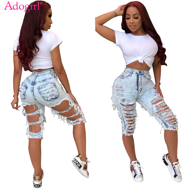 Adogirl Hand Distressed Fashion Holes Jeans Knee Length Pants High Stretchy Women Sexy Denim Shorts Casual Trousers Streetwear