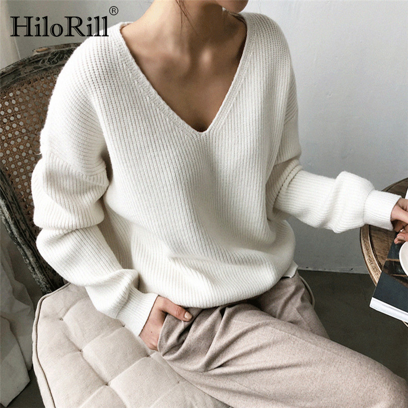 Women Pullover Sweater 2019 Casual Solid V Neck Long Sleeve Knitted Sweaters Fashion Autumn Winter Loose Cashmere Tunic Tops