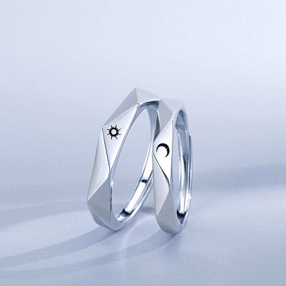 Парное Открытое кольцо с Луной и солнцем, минималистичное серебряное регулируемое кольцо с Луной и солнцем для мужчин и женщин, обручальное...