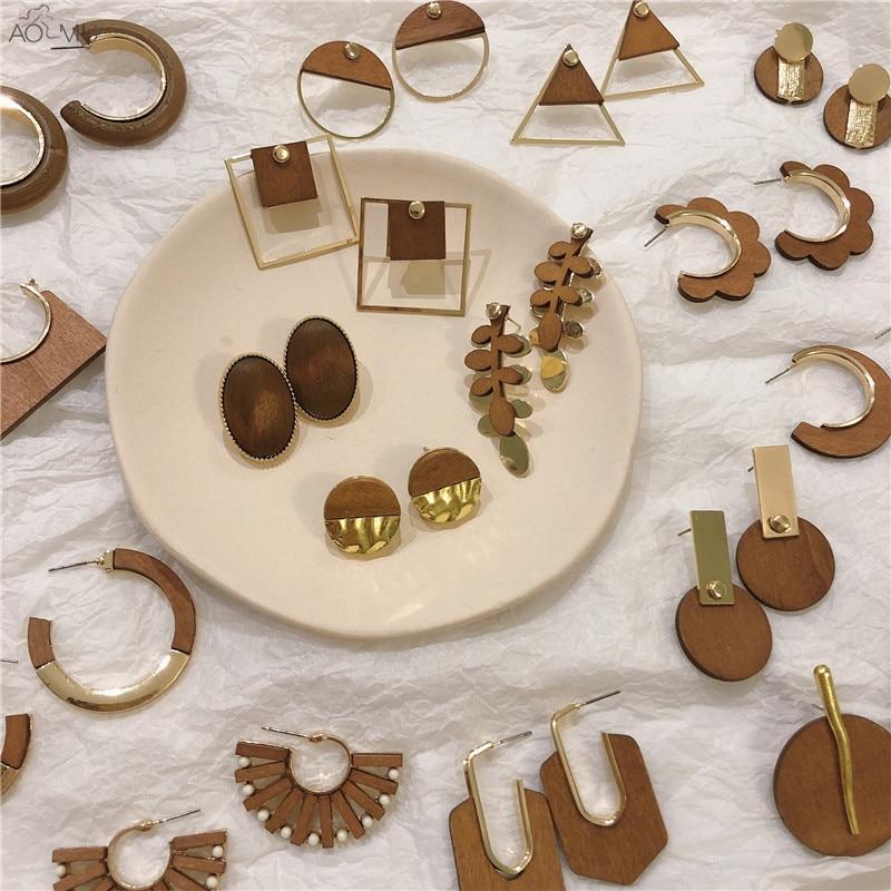 AOMU Fashion Geometric Square Flower Big Wooden Dangle Earrings For Women Retro Golden Drop Earring 2019 Female Ethnic Jewelry