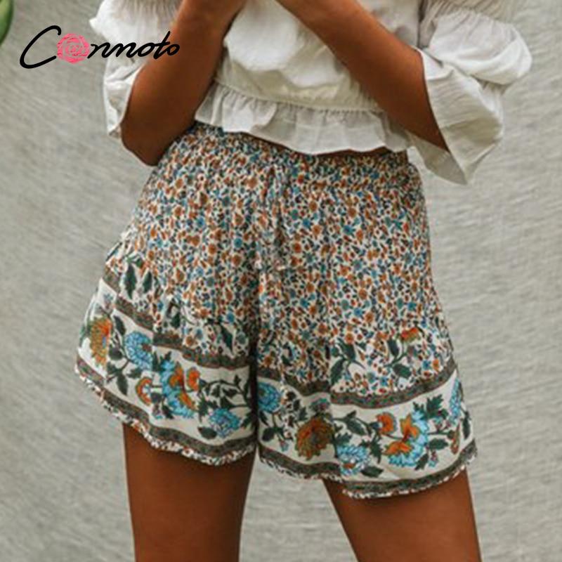 Conmoto Elastice Wais High Fashion Boho Women Shorts Beach Summer 2020 Shorts Casual Wide Leg Ruffles Floral Print Shorts