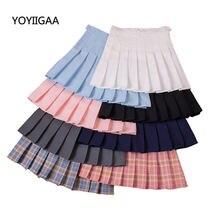 Плотная плиссированная юбка летняя женская с завышенной талией